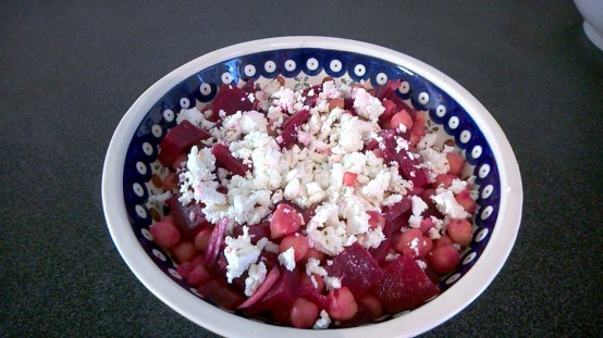 Feta white, beetroot red, and chickpea brown complement each other beautifully